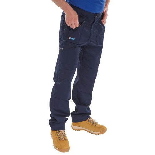 Click Navy Action Work Trousers